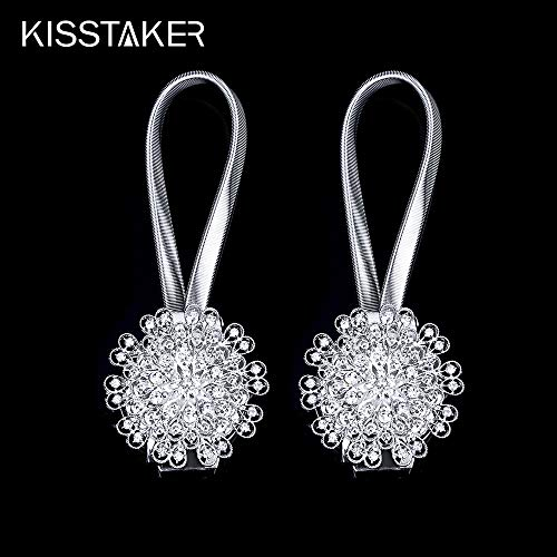 KISSTAKER Curtain Tiebacks, 1 Pair Crystal Magnetic Curtain Tiebacks Tie Back Clips Holdbacks Buckle Decorative Drapes (Silver)