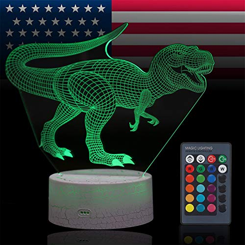 VANSIHO Dinosaur 3D Optical Illusion Night Light 7 LED Color Changing Lamp Christmas Birthday Gift for Kids with Remote Crackle (Dinosaur)
