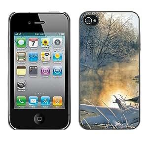 FECELL CITY // Duro Decorativo Carcasa de Teléfono PC Caso Funda / Hard Case Cover foriPhone 4 / 4S // Winter landscape