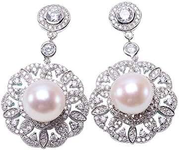 JYX 10mm White Flat Freshwater Pearl Dangling Earrings