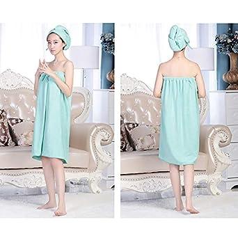 mega Women Microfiber Bowknot Bath Towel Wrap Hair Tube Set Strapless Cover Up Bathing Bathrobe with Elastic