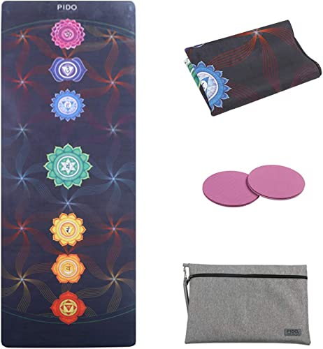 WWWW Travel Yoga Mat Non Slip Printed Suede Rubber Yoga Mat with Bag 72 x 26 Portable 1 16 Inch Ultra Thin Folding Mat for Yoga Pilates Home Fitness Exercise