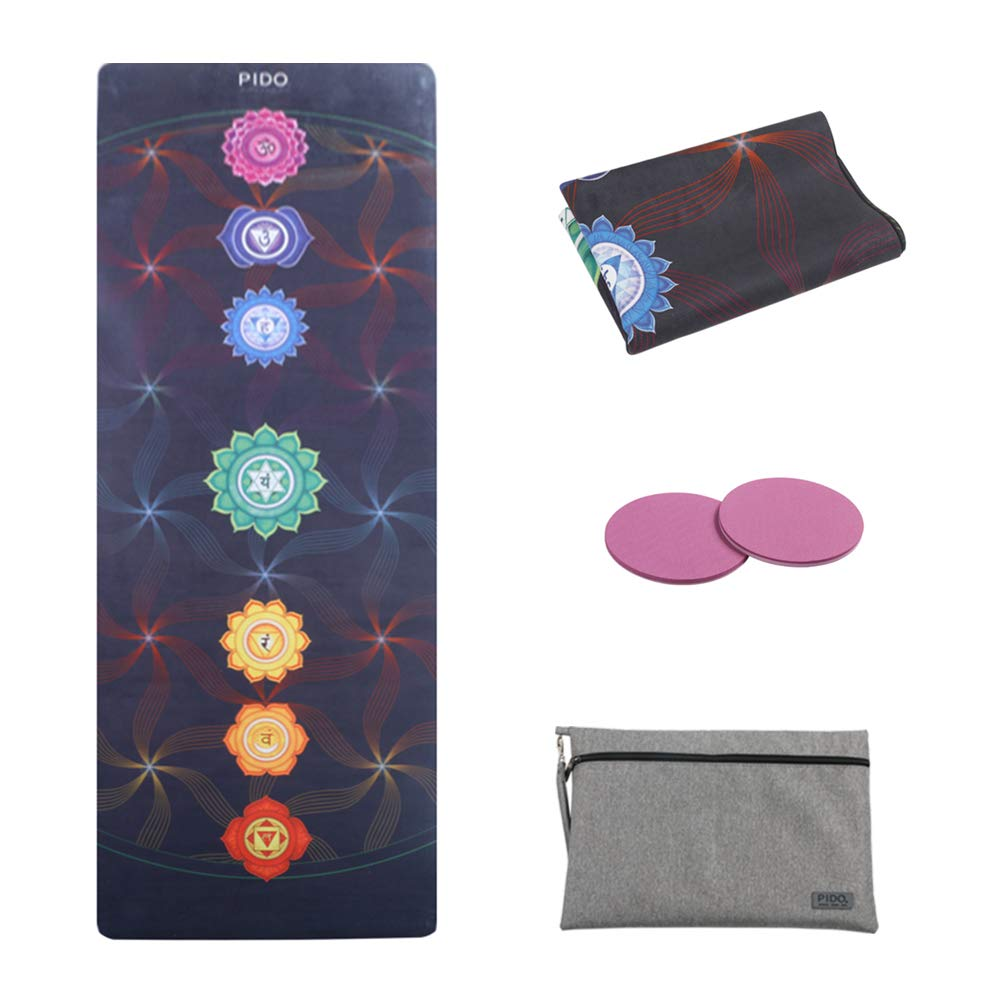 WWWW Travel Yoga Mat Non Slip Printed Suede Rubber Gym Mat with Carrying Bag 72 x 26 Portable 1 16 Inch Ultra Thin Folding Mat for Yoga Pilates Fitness Exercise