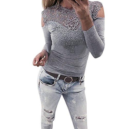 FRYS chemise femme chic soiree manteau femme grande taille Printemps pull femme hiver blouse femme dentelle vetement femme pas cher mode chemisier femme été top t shirt fille Gris