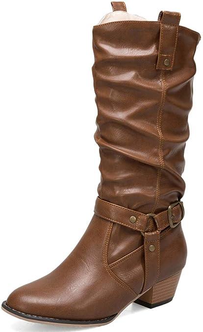 Solshine Damen Langschaft Stiefel mit Blockabsatz Falten Warm Gefüttert  Cowboy Boots Schlupfstiefel Braun 35EU 284d05f850