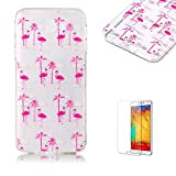 For Samsung Galaxy J5 Prime Case [with Free Screen Protector].Funyye Crystal Transparent Soft TPU Fashionable Pattern Design Shock Proof Protective Cover Case for Samsung Galaxy J5 Prime-Pink Crane