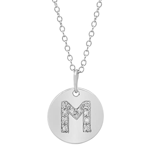Amazon sterling silver diamond initial m disc pendant sterling silver diamond initial m disc pendant necklace mozeypictures Image collections