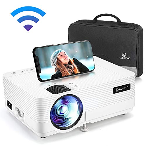 "VANKYO Leisure 470 Mini Projector with Synchronize Smart Phone Screen, Full HD 1080P Supported and 250"" Display, 4000 Lux WiFi Portable Projector Compatible with TV Stick, PS4, HDMI, VGA, TF, AV, USB"