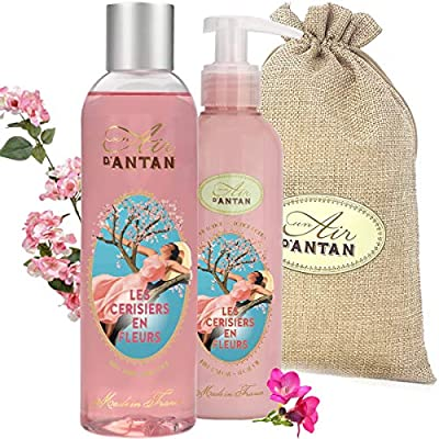 Un Air d'Antan® Coffret Beauté Femme Fleur de Cerisiers – Lot Duo Bain et Soin : 1 Gel Douche 250ml et 1 Lait Corps…