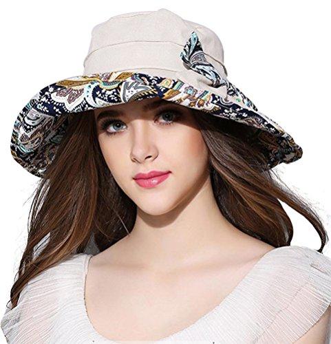 Women's Summer UV Protection Hat Cotton Wide Brim Cap Outdoor Foldable Beach Hat, Beige