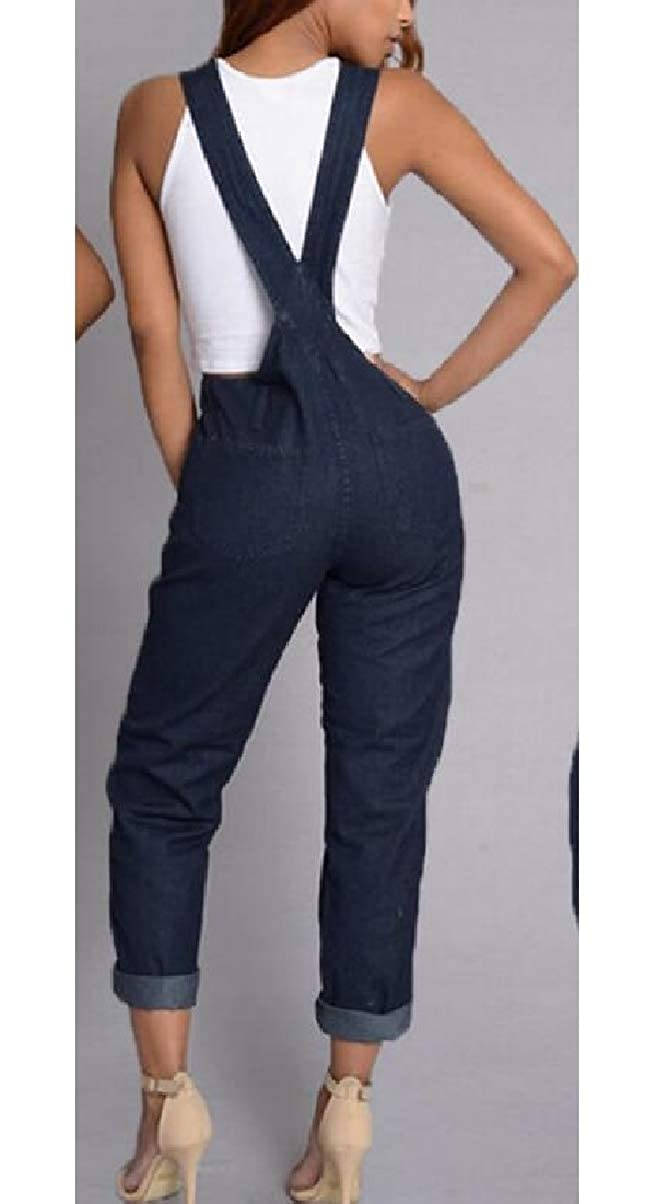 ZXFHZS Women Casual Stylish Denim Overall Pockets Sleeveless Playsuits Jumpsuit