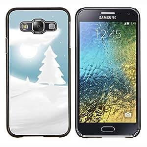KLONGSHOP // Cubierta de piel con cierre a presión Shell trasero duro de goma Protección Caso - Blanco como la nieve de invierno Picea Árbol Noche de Luna - Samsung Galaxy E5 E500 //
