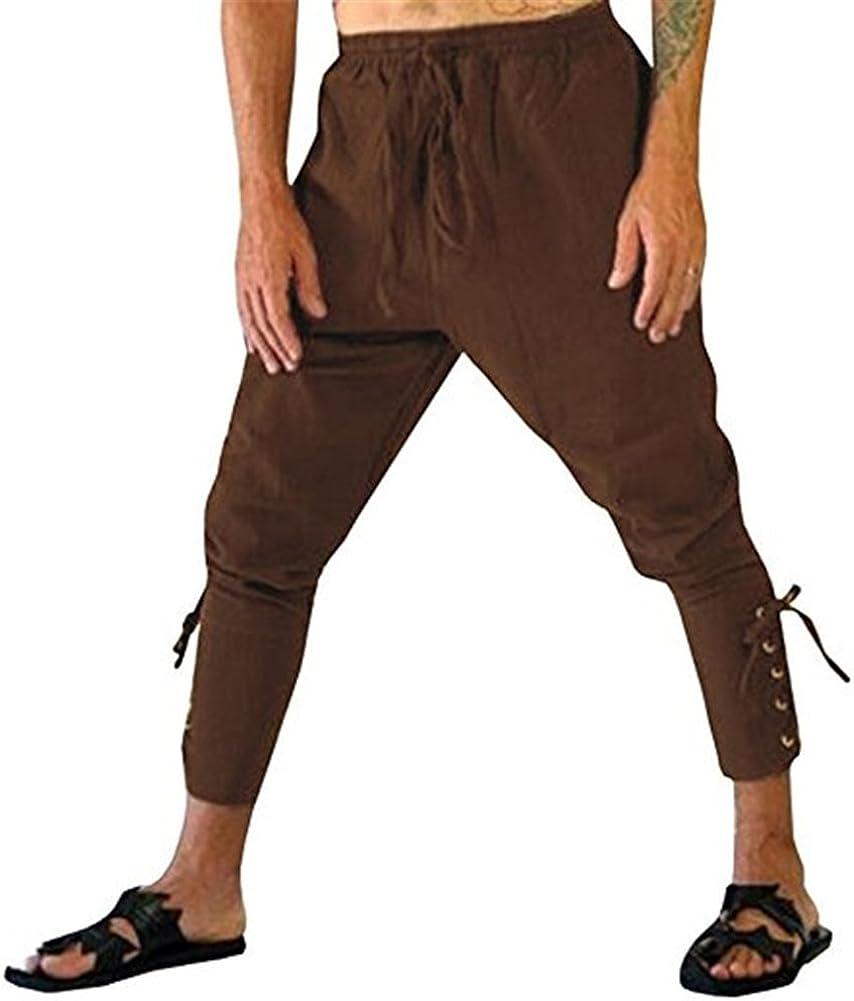 fengduo Hombres Medievales Pantalon Corto Retro Victoriano Pantalones Renacimiento Disfraz de Pirata Vikingos /Étnico Capri Pantalon para Halloween Carnaval Cosplay