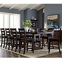 A Line Furniture Trestle Base Counter Height Dining Set with Ladder Back Style Stools 11-Piece Sets