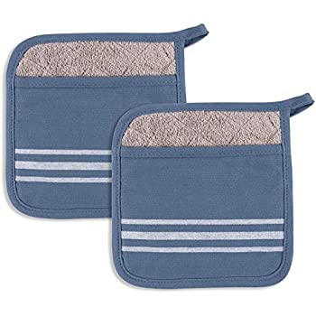 KAF Home Christopher Kimball's Milk Street Kitchen French Stripe Terry Lined Pot Mitt Holder Set of 2 (Bearing Sea)