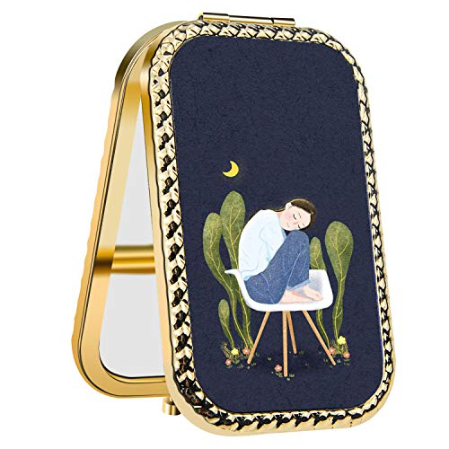 IMLONE Rectangle Golden Resting Girl Compact Purse Mirror with 2X Magnification, Portable Folding Makeup Mirror, Great Choice and Best Gift for You and Your Friend