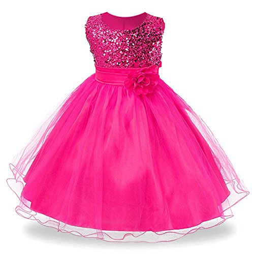 IIYoYo 2018 Christmas Gorgeous Wedding Bridesmaid Flower Girl Tulle Lace Dress Formal Occasion Pleated Ball Gown (Rose Red, 130) -
