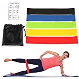 Sodker Exercise Resistance Bands Loops - Set of 5, 12-inch Workout Bands for Home Fitness, Stretching, Yoga Physical Therapy and More - Includes Instruction Manual &Carry Bag