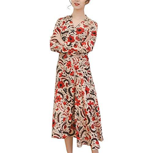 Vestidos Columpio Larga Chiffon Grande Imprimir Temperamento Primavera Color Cuello Manga ZHUDJ V Vestidos 8Zwvq44E