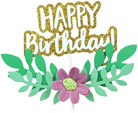 Amosfun 3 unids Feliz cumpleaños Cake Topper Cupcake Topper ...