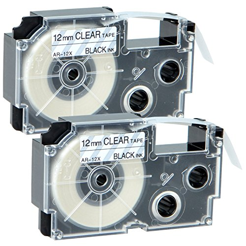 GREENCYCLE 2 Pack Compatible Casio XR-12X Black on Clear Label Tape 1/2''(12mm) x 26' (8m) for KL-60 KL-60SR KL-750BA KL-750KITCH KL-780 Label Printer by greencycle