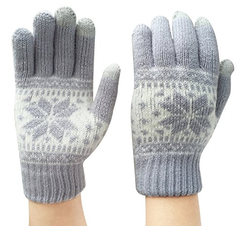 Chalier Women Winter Touch Screen Gloves Thick Knit Texting Phone Gloves Warm Touchscreen Mittens