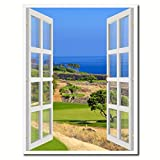 Coastal Golf Course View Picture French Window 24008 Framed Canvas Print Home Decor Office Wall Art Collection Gift Ideas 7''x9''
