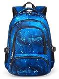 BLUEFAIRY Kids Backpacks for Boys Elementary School Bags Middle School Bookbags Lightweight Durable (Stars,Blue)