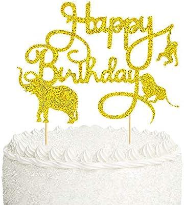 Excellent Mity Rain Jungle Safari Animal Cake Toppers Gold Glitter Happy Funny Birthday Cards Online Amentibdeldamsfinfo