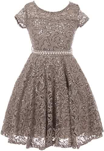 80e8cb2a685 BNY Corner Cap Sleeve Floral Lace Glitter Pearl Holiday Party Flower Girl  Dress