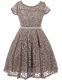Flower Girl Dress Cap Sleeve Sequin Skater Lace Dress Pearl Belt