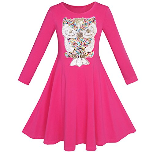Perfectme Children Clothing Butterfly Sequin Everyday Dress Cotton 2018 Summer Princess Wedding Party Size 7-14,Pink,10