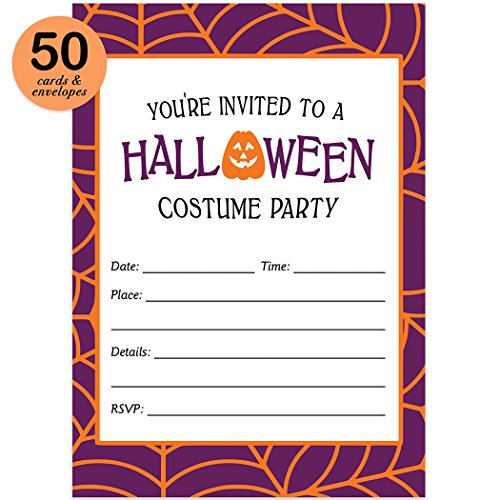 About Halloween History Costumes (Halloween Costume Party Invites & Envelopes ( Pack of 50 ) Fun Dress Up Party Large Blank 5x7
