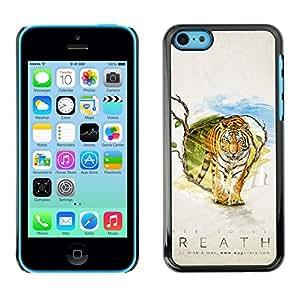 EJOY---Cubierta de la caja de protección la piel dura para el / iPhone 5C / --Tiger Aliento