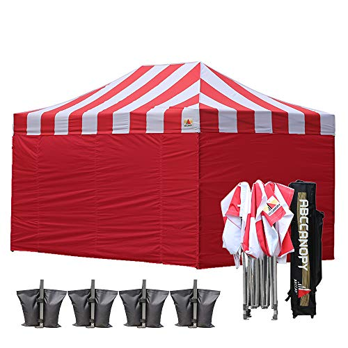 Cheap ABCCANOPY Carnival Red 10 X 15 Ez Pop up Canopy Tent Commercial Instant Gazebos with 6 Removable Red Sidewalls and Roller Bag and 4X Weight Bag