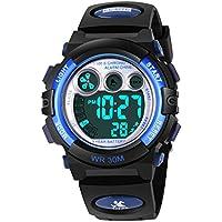 AZLAND Relojes para niños y niñas, reloj deportivo, reloj digital con luz de noche, para nadar, de Frozen, reloj impermeable para niños, Azul