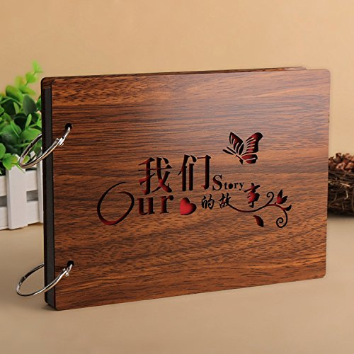 DIY Scrapbook, 8 Inch Wooden Cover Photo Album, Anniversary Memory Book, Wedding Guest Book, Gift (Our Story)