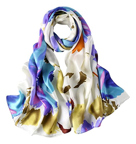 Long Charmeuse Silk Scarf Floral and Graphic Print (Blue and White Abstract)