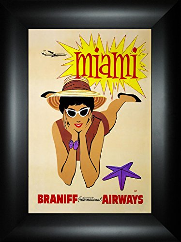 Miami 24x18 Travel Poster Florida Vacation Braniff Airways Daytona 500 South Beach Atlantic Ocean Alligator Sailing Dolphins Heat Marlins Hurricanes Framed Art Print Wall Décor Picture