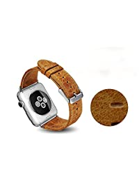 CCLOON Apple Watch Band, Luxury Genuine Leather Strap Replacement Real Leather Band for Apple Watch 42mm Retro Grain and Waterproof Band for Apple Watch 42 MM (42MM, Brown)