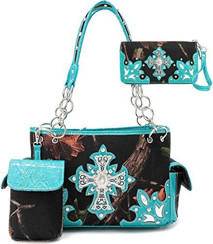 Cowgirl Trendy Western Cross Camouflage Cow Purse Handbag Shoulder Bag Phone Case Wallet Set Turq
