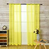 2 panel yellow curtains - KEQIAOSUOCAI 2 Pieces Solid Color Rod Pocket Sheer Curtains Panels For Bedroom Living room(Yellow,52Wx84L,Set of 2)