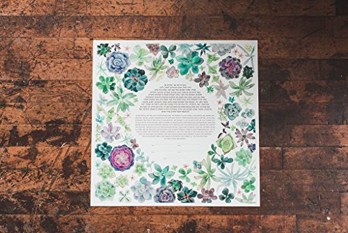 Succulent Wreath Ketubah | Jewish/Interfaith Wedding Certificate | Hand-Painted Watercolor, Giclée Print by Tallulah Ketubahs