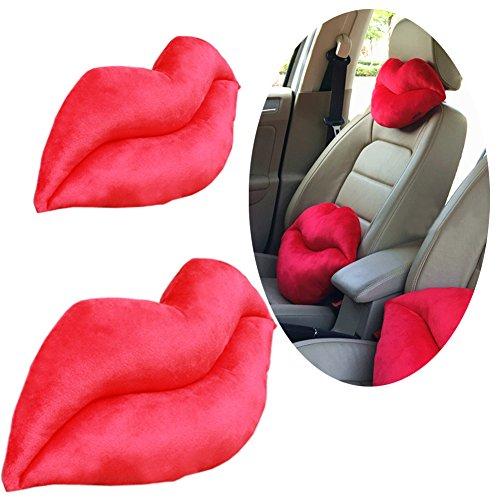 Lzttyee 2Pcs Short Plush Creative Lip Beard Shape Car Seat Neck Cushion Headrest Waist Pillow Set (Lip Headrest + Lip Waist Pillow)