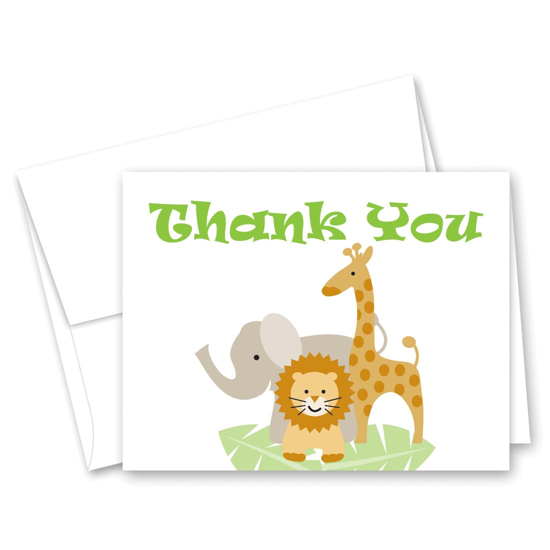 50 Cnt Safari Animals Baby Shower Thank You Cards