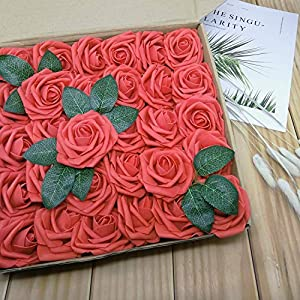 D-Seven Artificial Flowers 30PCS Real Looking Fake Roses with Stem for DIY Wedding Bouquets Centerpieces Party Baby Shower Home Decorations (Coral) 2