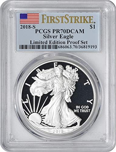 2018 S American Silver Eagle Limited Edition Proof Set, First Strike, Flag Label Dollar PR70DCAM PCGS