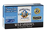 Henry & Lisa's Natural Seafood Wild Sardines in Spring Water, 4.25 Ounce (Pack of 12)
