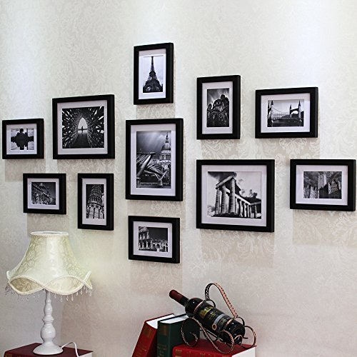 (Without Photo)135cm x 70cm Wooden Black Wall Hanging Art 11Pcs Picture Photo Frame Set With Installation Drawings and Accessories LamYHeng