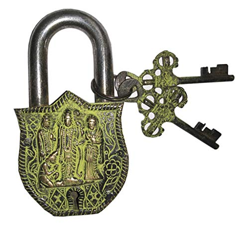 Laxman Art Ram Parivar Style Brass Lock Padlock, Handmade Antique Design, Unique Collectible Combination of Style & Security with 2 Keys